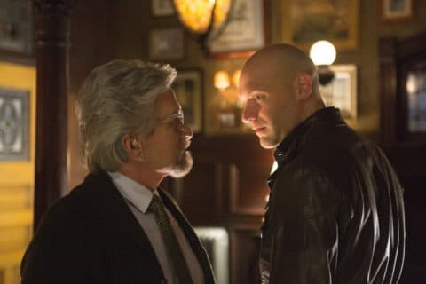 Marvel's Ant-Man L to R: Hank Pym (Michael Douglas) and Darren Cross (Corey Stoll) Photo Credit: Zade Rosenthal © Marvel 2014